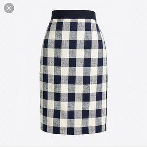 J. Crew check cotton linen tweed pencil skirt 6